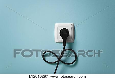 Picture Of Electrical Cable Into The Socket In Infinity Symbol