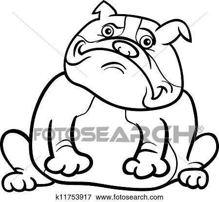 Clip Art Englische Bulldogge Hund Karikatur Für Ausmalbilder