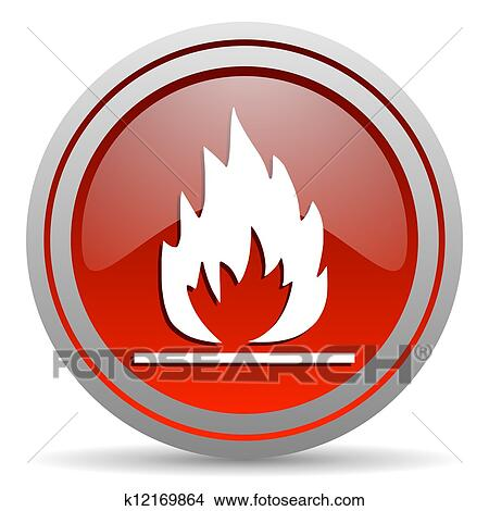 drawings of flames red glossy icon on white background k12169864