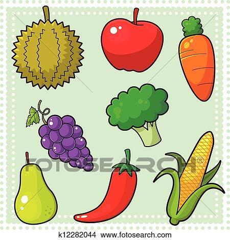 Fruits Vegetables 01 Clipart K12282044 Fotosearch