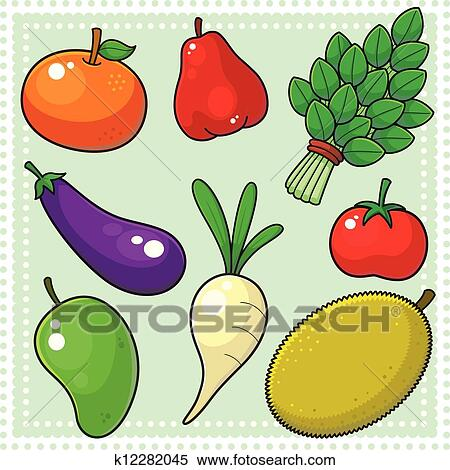 Fruits Vegetables 02 Clipart K12282045 Fotosearch