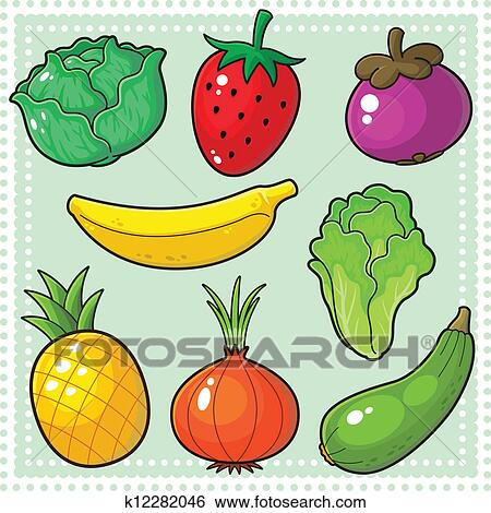 Fruits Vegetables 03 Clip Art K12282046 Fotosearch