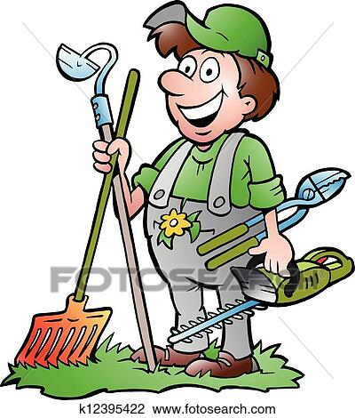 clipart of gardener standing with tools k12395422 search clip art rh fotosearch com gardener clip art free garden clipart black and white