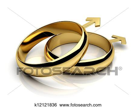 Stock Illustration Of Gay Male Wedding Rings K12121836 Search Clip