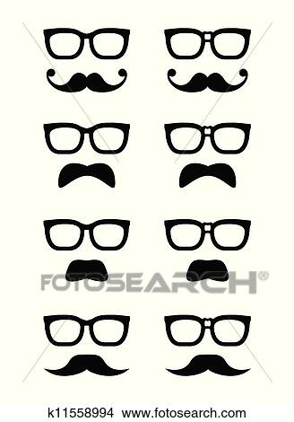 top quality competitive price on feet at Geek glasses and moustache or musta Clipart | k11558994 | Fotosearch