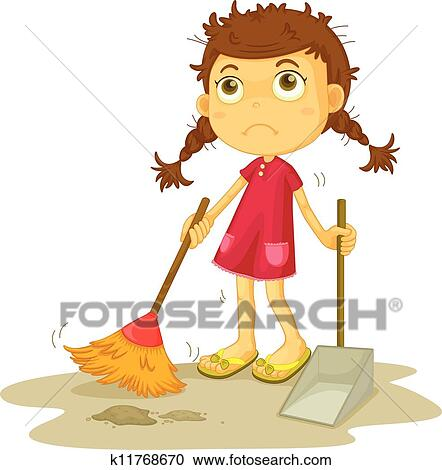 Girl Cleaning Floor Clipart K11768670 Fotosearch