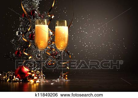 stock illustration glasses of champagne at new year party fotosearch search clip art