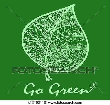 Clipart Of Go Green Leaf Symbol K12163110 Search Clip Art