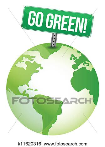 Clip Art Of Go Green Sign K11620316 Search Clipart Illustration
