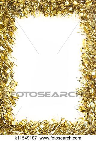 gold christmas tinsel garland forming a rectangular border on white background