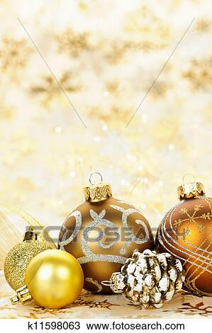 Christmas Ornament Background.Golden Christmas Ornaments Background Stock Image