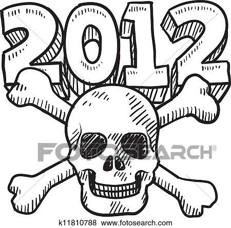 Clip Art Of Goodbye 2012 Apocalypse Sketch K11810788