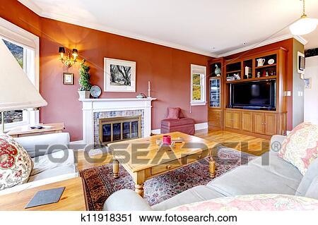 Grande, bello, soggiorno, con, pareti rosse, e, fireplace. Archivio Immagini