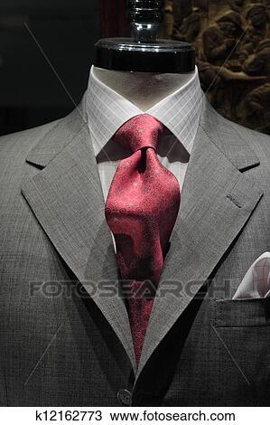 Grauer, jacke, mit, roter riegel Stock Bild