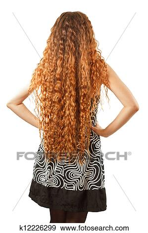 Stock Photograph Of Hairstyle From Long Curly Hair From The Back On