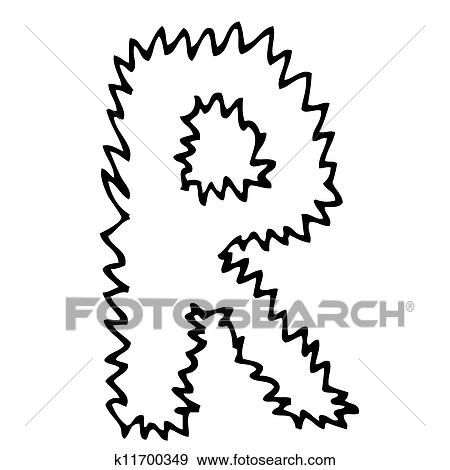 Clip Art Of Hand Drawing Alphabet Letter R In Vector Design