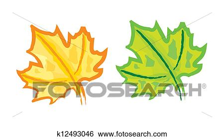 Hand Drawing Maple Leaf Clip Art K12493046 Fotosearch