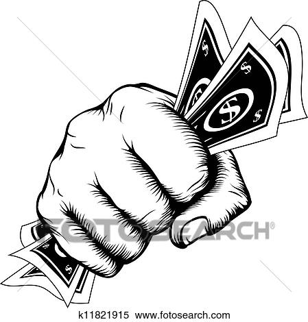 Clipart Of Hand Fist With Cash Illustration K11821915