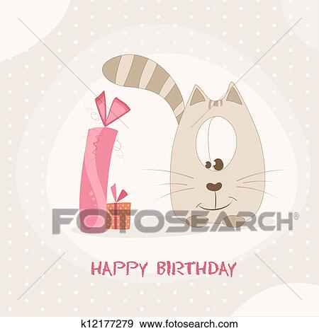 Clip Art Of Happy Birthday Card K12177279 Search Clipart