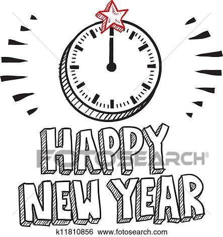 clip art happy new year clock sketch fotosearch search clipart illustration posters