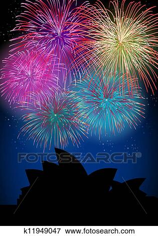 clip art happy new year fireworks australia landmark fotosearch search clipart illustration