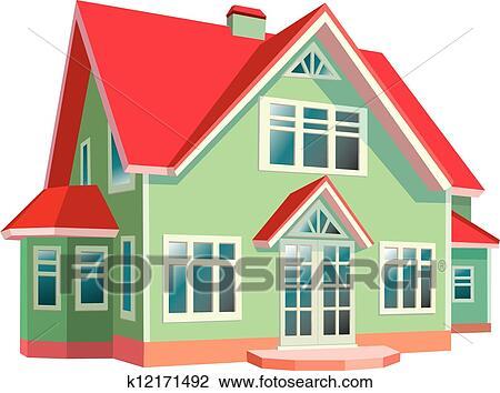 Clipart Haus Mit Rot Dach Weiß Hintergrund K12171492 Suche