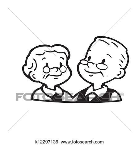 Heureux Vieux Couple De Cadre Blanc Fond Banque Dillustrations