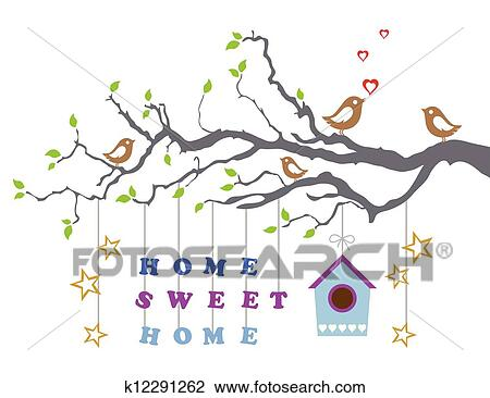 Clipart of home sweet home new house card k12291262 search clip home sweet home moving into a new house greeting card this image is a vector illustration m4hsunfo
