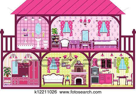 Clip Art Of House For The Girl In A Cut K12211026 Search Clipart