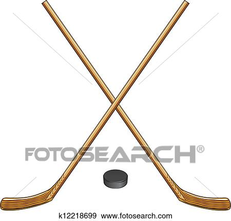clip art of ice hockey sticks and puck k12218699 search clipart rh fotosearch com crossed hockey sticks clipart crossed hockey sticks clipart