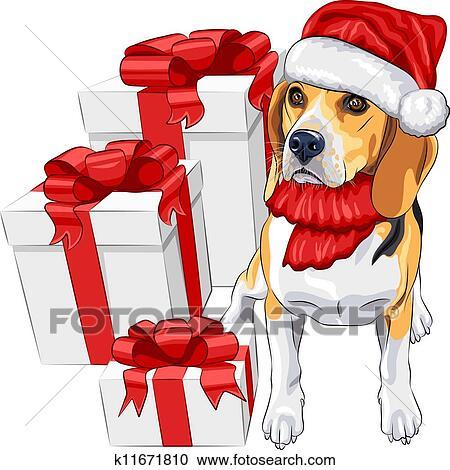 Clipart couleur croquis de les chien beagle race - Noel dessin couleur ...