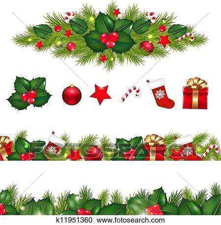 Clipart Of Christmas Borders Set With Xmas Garland