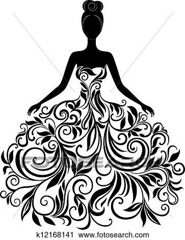 Clipart vektor silhouette von junge frau in kleid for Elegante wandbilder