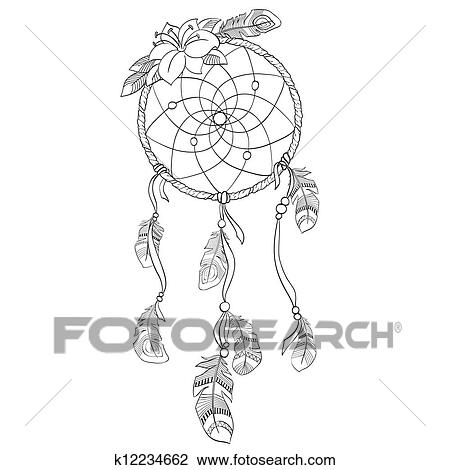 Clipart dreamcatcher vecteur illustration k12234662 for Acchiappasogni disegno