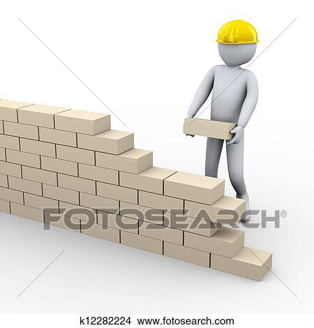 Dessins 3d homme b timent mur brique k12282224 for Dessin batiment 3d