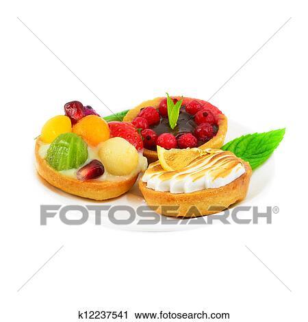 Stock Fotografie Kleine Kuchen Mit Frucht Und Creme K12237541
