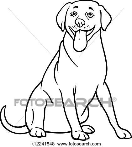 Clip Art Of Labrador Retriever Dog Cartoon For Coloring K12241548