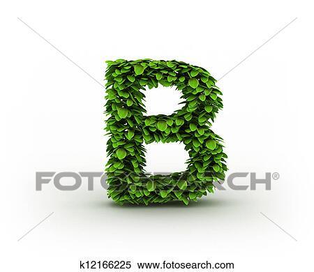 Colección de ilustraciones - letra b, alfabeto, de, hojas verdes ...