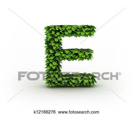 Colección de imágenes - letra e, alfabeto, de, hojas verdes ...