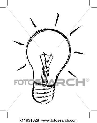 Clip Art Of Light Bulb Vector K11931628