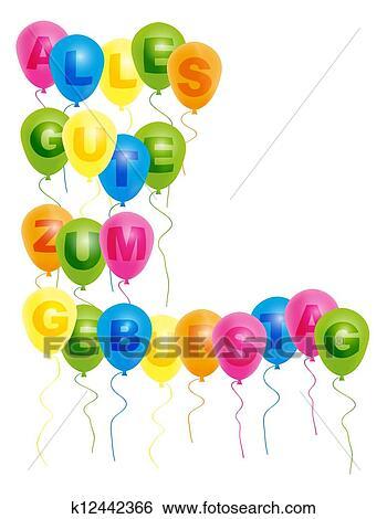 Clip Art Luftballone Mit Mit Alles Gute Geburtstag Zeichen