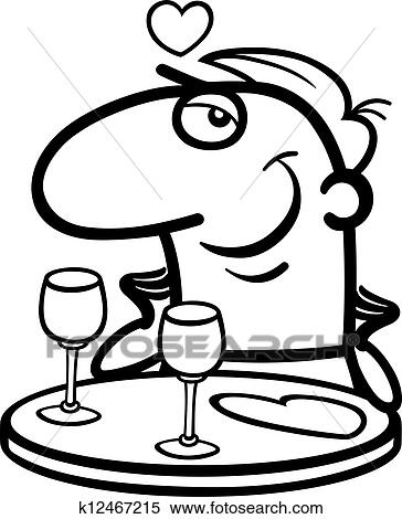 Clipart Of Man Waiting On Valentines Day Cartoon K12467215 Search