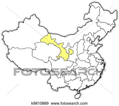 Gansu China Map.Clip Art Of Map Of China Gansu Highlighted K9810889 Search