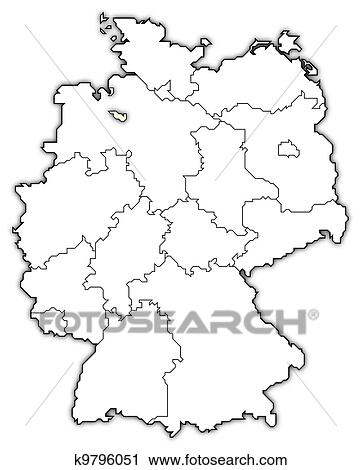 Map of Germany, Bremen highlighted Clip Art | k9796051 | Fotosearch