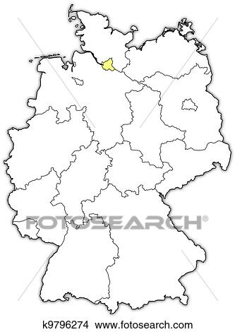 Hamburg Map Of Germany.Map Of Germany Hamburg Highlighted Clipart