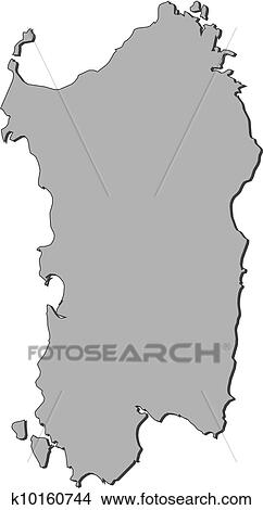 Clipart Of Map Of Sardinia Italy K10160744 Search Clip Art