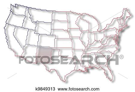 Stock Photo of Map of the United States, New Mexico highlighted ...