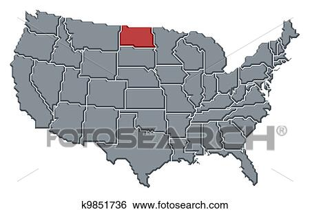 Map of the United States, North Dakota highlighted Stock Photograph