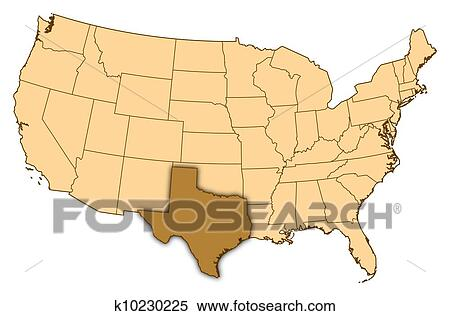 Map of United States, Texas highlighted Stock Illustration