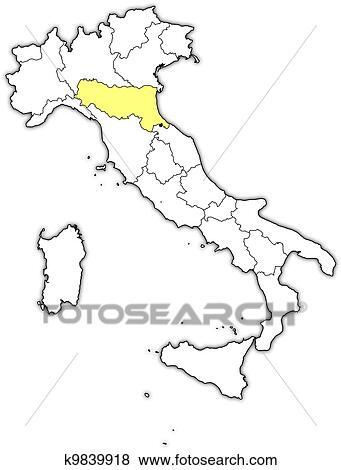 Cartina Italia Emilia Romagna.Mappa Italia Emilia Romagna Evidenziato Clip Art